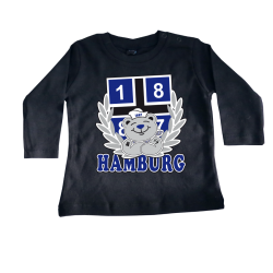 Baby-Long-T-Shirt '1887 Teddy', schwarz