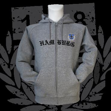 grau meliert 1887  Streetwear Hamburg Volkspark Kapuzensweater Hoody Hoodie New HH