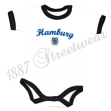 Baby Body '1887 New Hamburg', weiß-navyblau